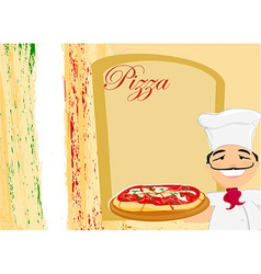 Chef with pizza - menu template vector