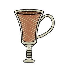 Color crayon stripe cartoon transparent glass cup vector