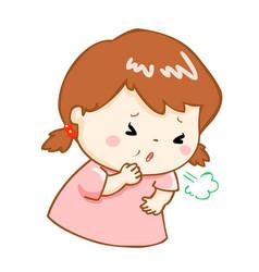 Coughing girl cartoon vector