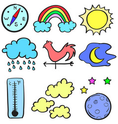 Doodle of weather theme design vector