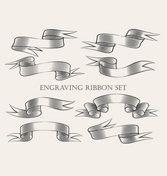 engraving ribbon set vector image