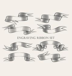 engraving ribbon set vector image vector image