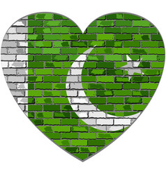 flag of pakistan on a brick wall in heart shape vector image vector image