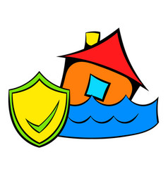 Flood insurance icon cartoon vector