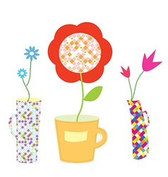 Flowers and vases set vector image