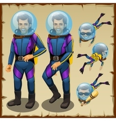 Handsome diver man cartoon character animation vector