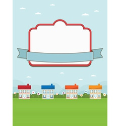 house landscape with frame vector image vector image