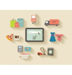 Internet shopping e-commerce concept Icons set vector image vector image