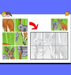 jigsaw puzzles with animal characters vector image vector image