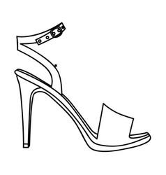Monochrome silhouette of high heel sandal shoe vector