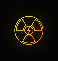 Nuclear energy outline yellow icon vector