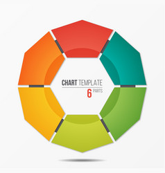 polygonal circle chart infographic template with 6 vector image vector image