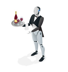 robot waiter in tuxedo and gloves holding a wine vector image vector image