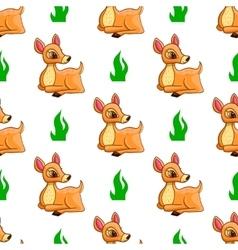 Seamless pattern with cartoon deers vector image vector image