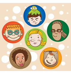 set of childrens faces vector image vector image