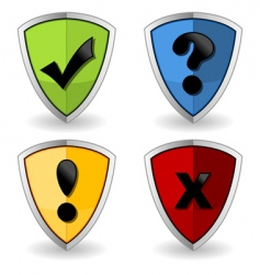 shields with check marks vector image vector image