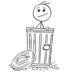 Smiling man poking out of the dustbin garbage can vector