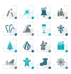 stylized christmas and new year icons vector image vector image