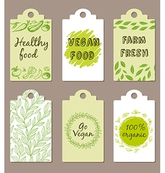 Vegetarian food badges vector