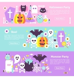 Trendy halloween web horizontal banners vector