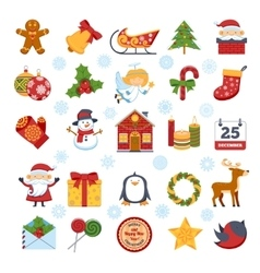 Christmas characters and decorations set vector