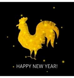 Gold rooster happy new year vector