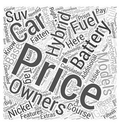 Hybrid cars price word cloud concept vector