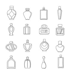 Perfume bottles icons set outline style vector