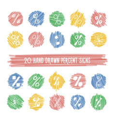 Set of hand drawn percent signs on highlight spots vector