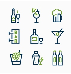 Different kind of drink icons icon set vector