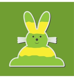 Sitting smiling greenish yellow easter bunny vector