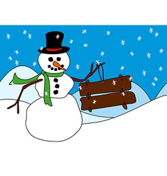 Snowman with wood sign or placard vector
