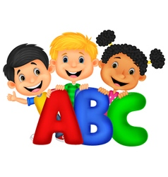 School kids with ABC vector image