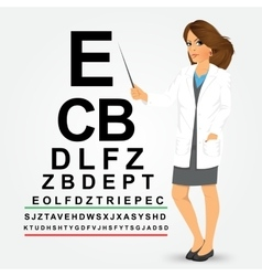 Female optician pointing to snellen chart vector