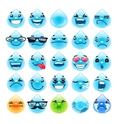 Cartoon water drops emoticons vector