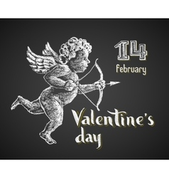 Cupid drawn on chalkboard vector