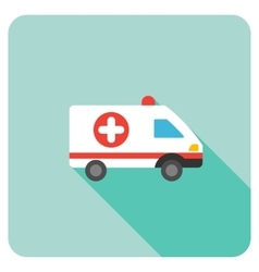 Ambulance car flat rounded square icon with long vector