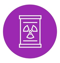 Barrel with ionizing radiation sign line icon vector