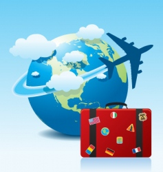 airplane travel with suitcase vector image vector image