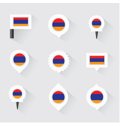Armenia flag and pins for infographic and map vector