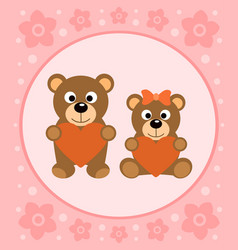 Background card with funny bears cartoon vector