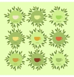 Banners with cups of tea and leaves vector