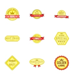 Best quality label icons set cartoon style vector