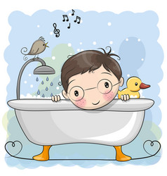 Boy in the bathroom vector