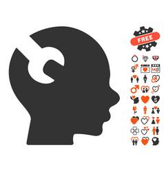 Brain wrench tool icon with love bonus vector