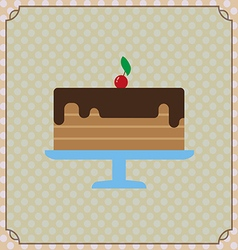 Candy card with a big chocolate cream cake a red c vector image vector image
