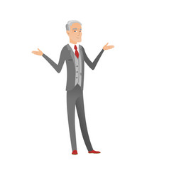 caucasian confused businessman with spread arms vector image vector image