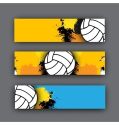 Collection of banners volleyball theme vector