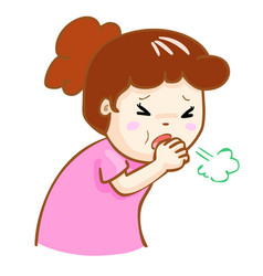 Coughing woman cartoon vector