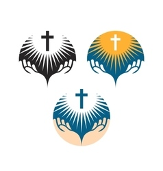 Crucifix symbol Crucifixion of Jesus Christ icons vector image